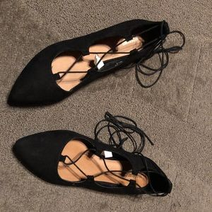 Ballet Flats Witch Spooky Goth Lace Up Pointed Toe